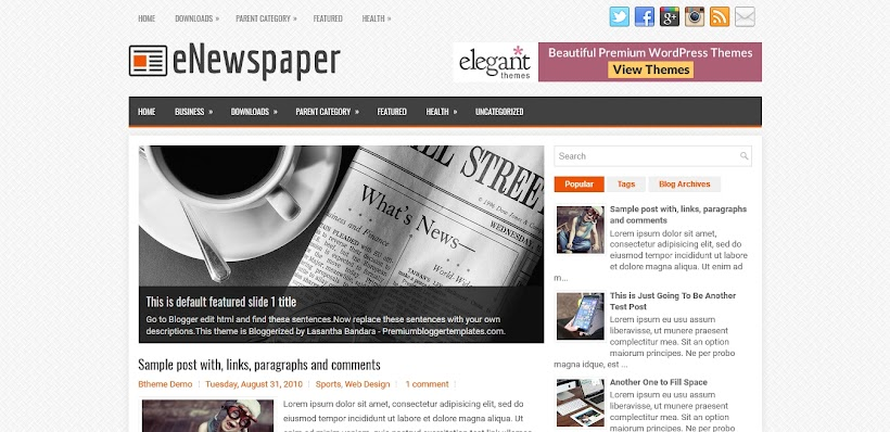 eNewspaper Free Blogger Template