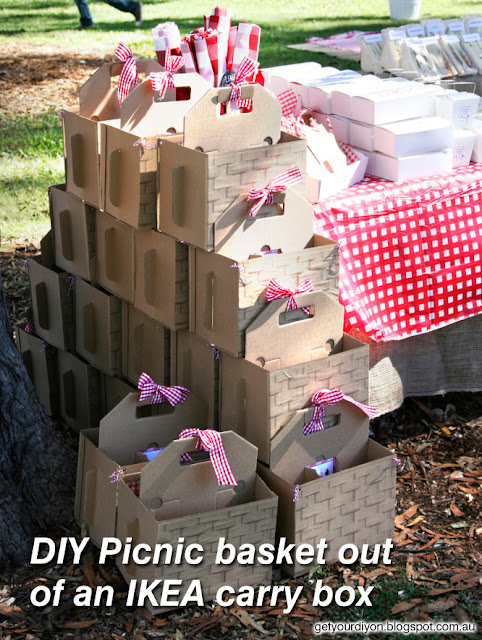 get your d i y on diy picnic basket out of an ikea carry box. Black Bedroom Furniture Sets. Home Design Ideas
