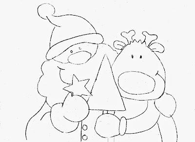 desenho para pintar papai noel com a rena de nariz vermelho.