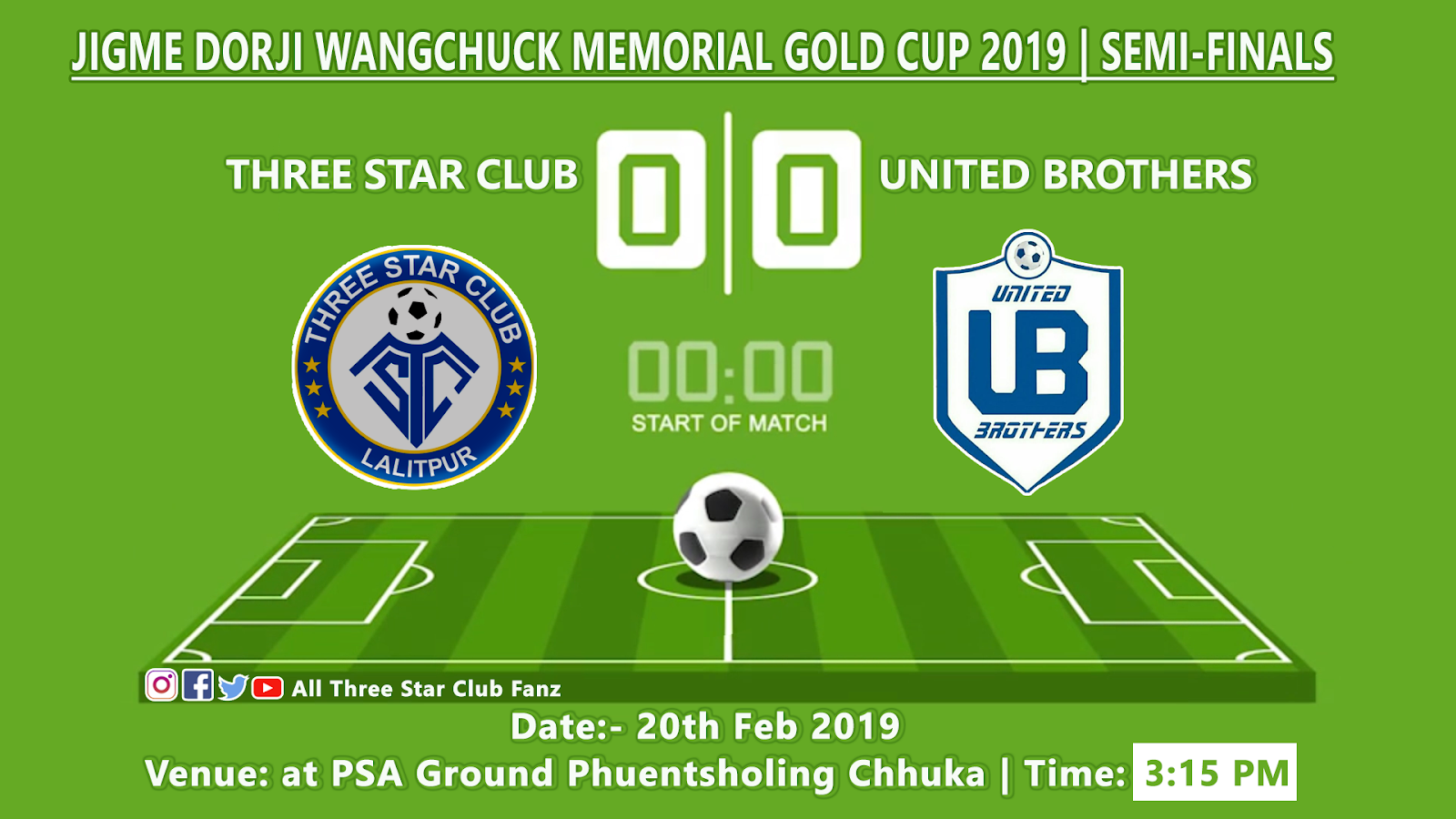 LIVE | Three Star Club vs United Brothers Fc | Jigme Dorji Wangchuck Memorial Gold Cup 2019 | Semifinals