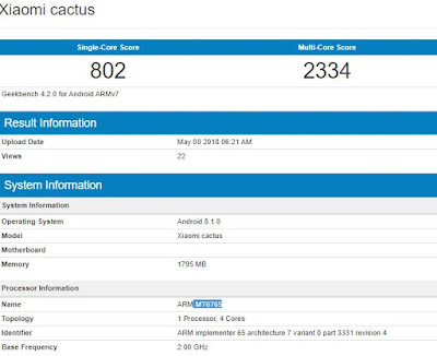 Xiaomi cactus with MT6765, 2GB RAM Leaked