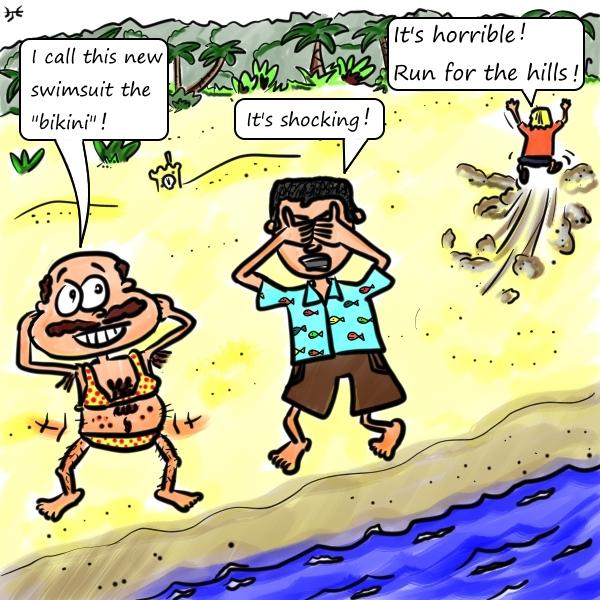 The bikini was named after bomb tests at Bikini Atoll