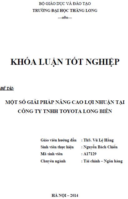 Một số giải pháp nâng cao lợi nhuận tại Công ty TNHH Toyota Long Biên