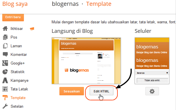 Cara Memasang Gambar Header Blog via Edit HTML