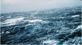 The sea state during a strong gale.