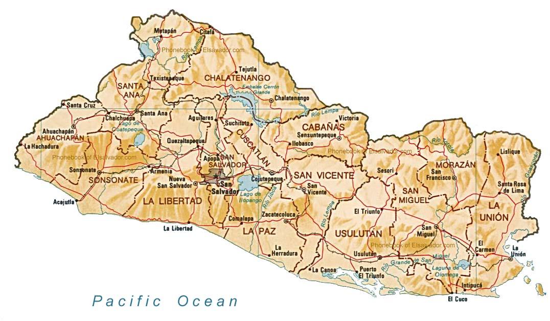 El Salvador - Hartat gjeografike në El Salvador