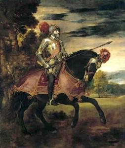 Carlos V a caballo en Mühlberg, por Tiziano. Cuadro de Carlos V con vestimentas de guerra. Museo del Prado, Madrid.