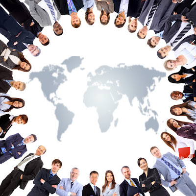 a circle of business people surround a map of the world