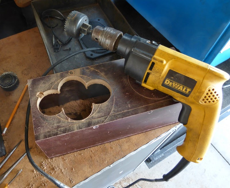 drilling speaker holes with hole saw