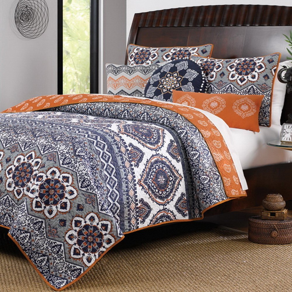 Brown and orange bedding - Grey Gray And Orange Bedding Bohemian Comforter Set