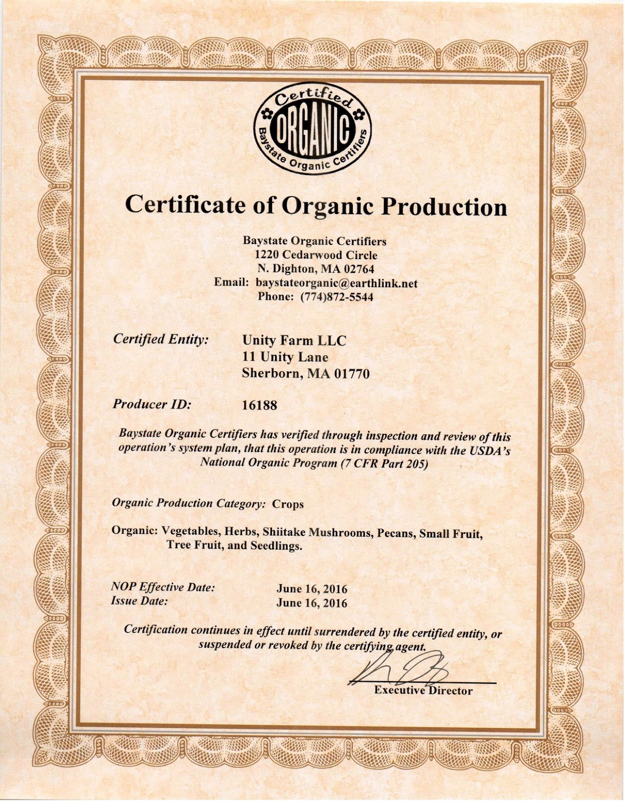 Life as a healthcare cio unity farm journal fourth week of june unity farm is now an organic certified producer of vegetables herbs mushrooms nuts fruits and seedlings heres our official designation 1betcityfo Choice Image