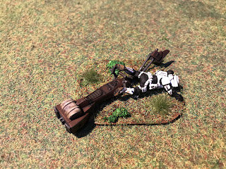 a crashed speeder terrain piece for Star Wars Legion