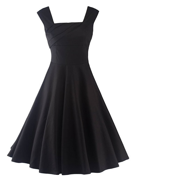 Schwarzes Tea length Dress