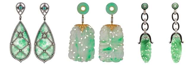 Luxury precious earrings with green jade