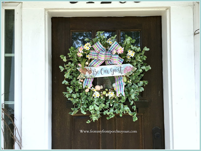 Spring Easter Front Porch--DIY-Wreath-Bunny Sign-From My Front Porch To Yours