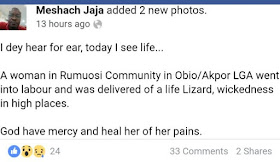 4 - Weird:Lizard allegedly comes out from a woman's private parts in Rivers state (Photos)