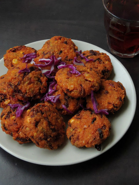 Purple cabbage channadal fritters
