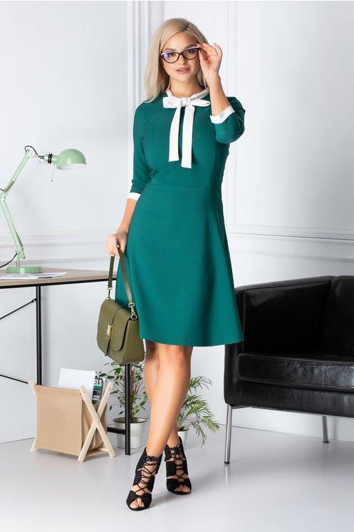 Rochie ieftina eleganta verde office croi clos funda alba la guler