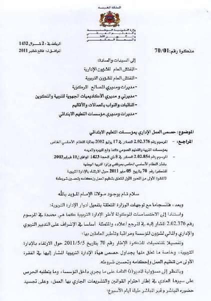 مذكرة حصص العمل الإداري بمؤسسات التعليم الابتدائي