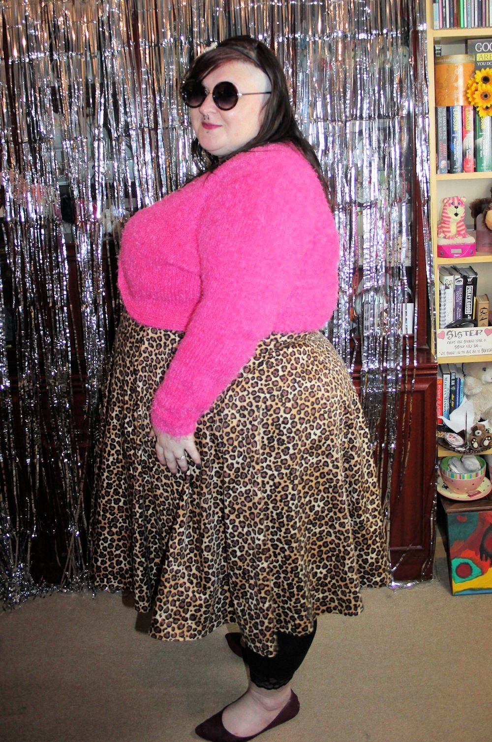 LADY V LONDON LADY VOLUPTUOUS LEOPARD PRINT PLUS SIZE RETRO FIT AND FLARE DRESS SIZE 28-28