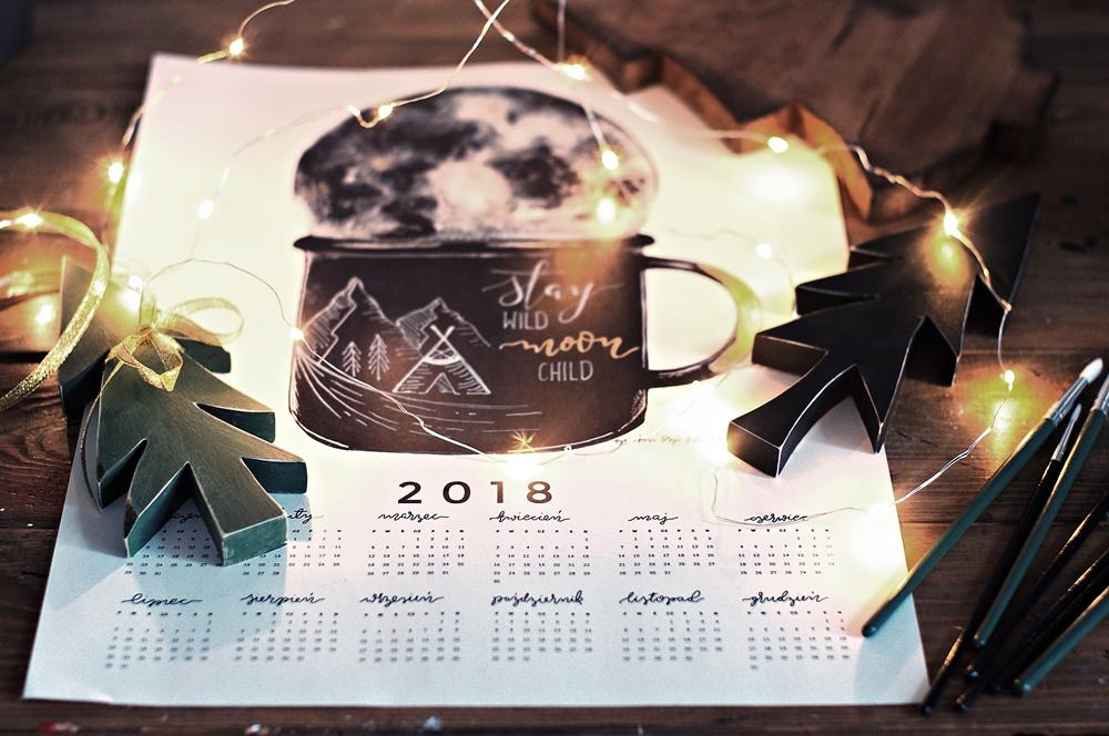 Życzenia Noworoczne od Any, Życzenia na Nowy 2018 rok, słodkiego miłego życia dla wszystkich czytelników www.any-blog.pl, kalendarz 2018, plakat z kalendarzem na 2018 rok