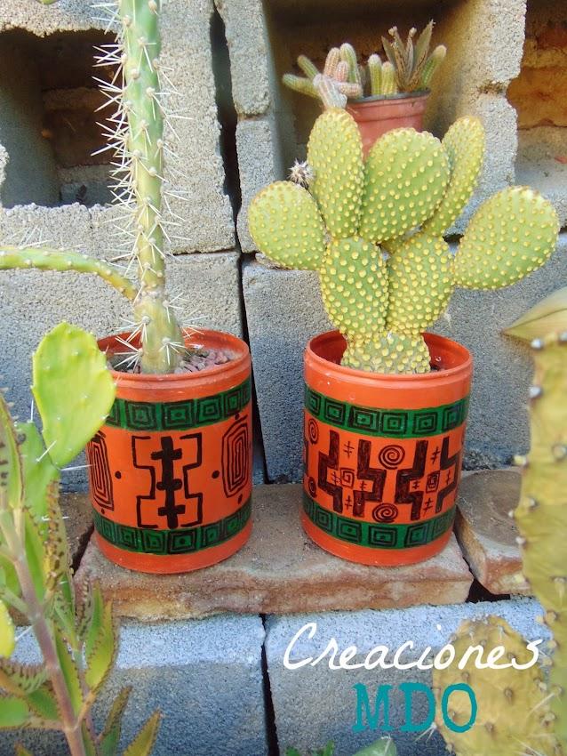 creaciones mdo: macetas coloridas para cactus