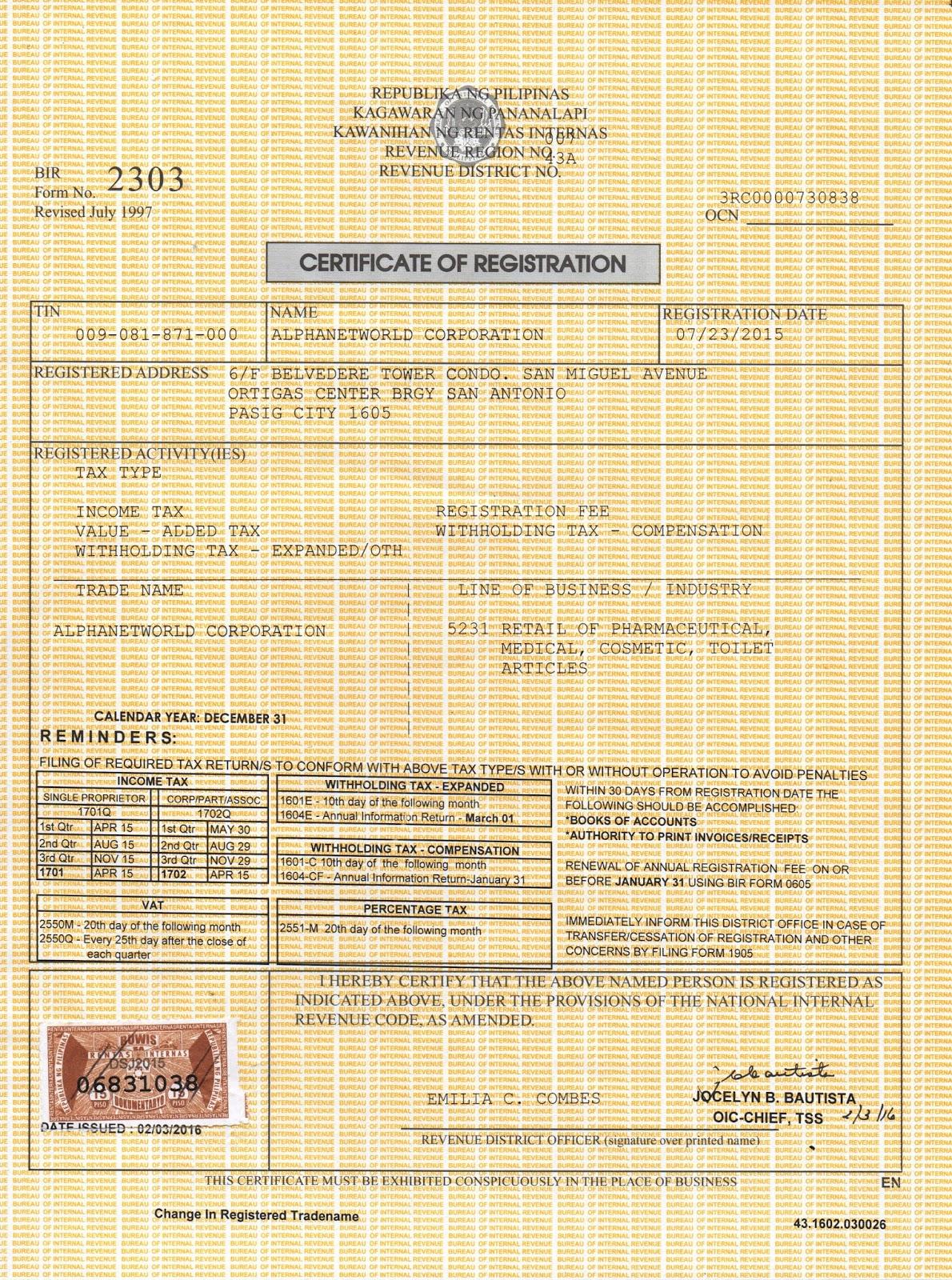 BIR Certificate