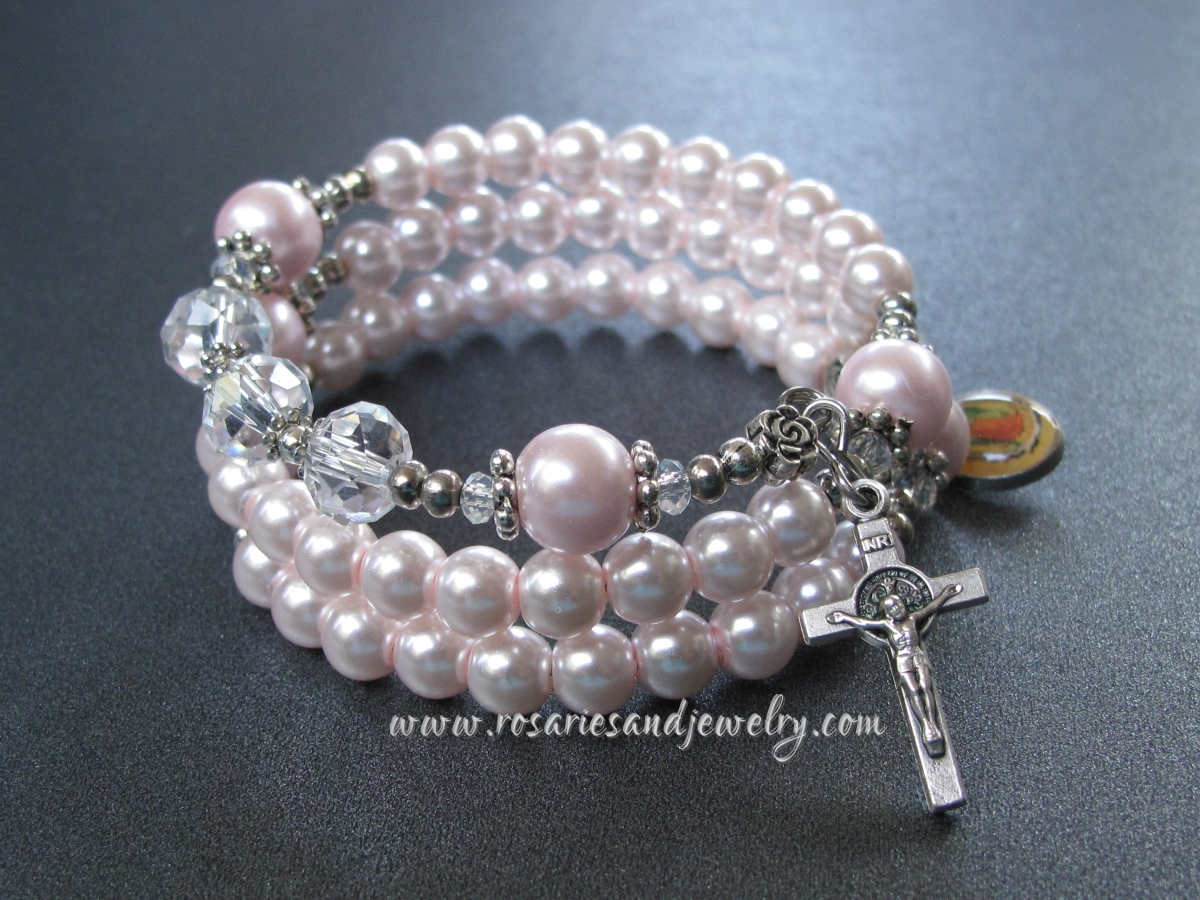 Light Pink Gl Pearls Wrist Wrap Rosary Bracelet Confirmation And First Communion Gift Mother S Day Bridesmaid Wedding Sponsor