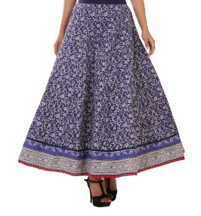 Blue Cotton Flared Skirt, Rangriti, Online Shopping for women, Indian wear, Ethinic Wear