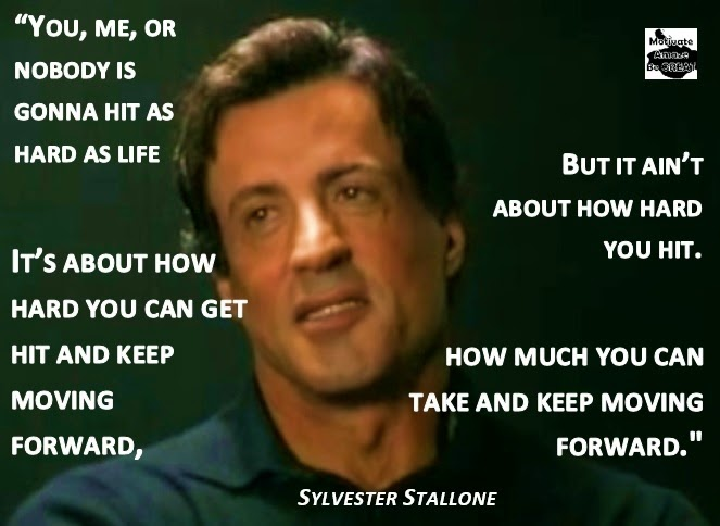 You, me, or nobody is gonna hit as hard as life. But it ain't about how hard you hit. It's about how hard you can get hit and keep moving forward; how much you can take and keep moving forward. Sylvester Stallone