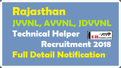 Rajasthan JVVNL, AVVNL, JDVVNL Technical Helper Recruitment 2018 Full Detail Notification.