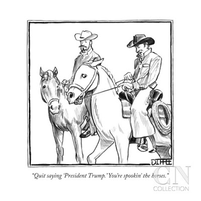 Diffee Cartoon Quit saying 'President Trump' You're spookin' the horses.