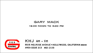 KHJ Boss Jock Gary Mack Business Card