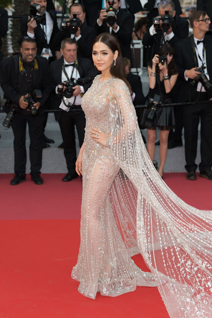 Araya Hargate Sexy Pic In Transparent Dress At Sorry Angel Premiere at 71st Cannes Film Festival