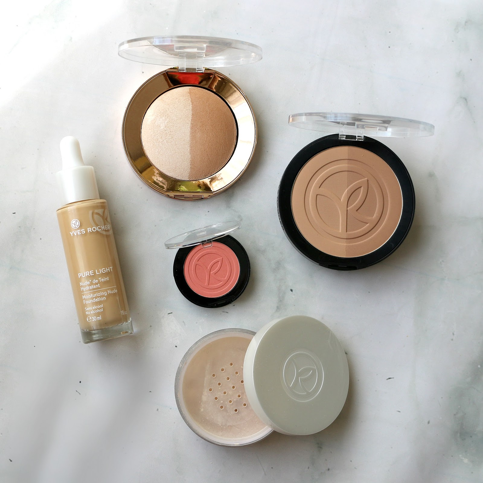 Yves Rocher Spring Makeup Look Face ProductsYves Rocher Spring Makeup Look Face Products Moisturizing Nude Foundation Light Luminous Loose Powder Bronzing Powder Duo Highlighter Duo Botanical Color Blush