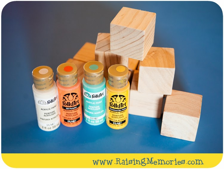 Painted Blocks for Fall Decoration by www.RaisingMemories.com #shop #bizdev