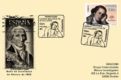 Tarjeta del matasellos de presentación del sello de Jovellanos en el 200 aniversario de su fallecimiento