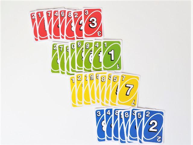 zdjęcie przedstawia karty uno posegregowane według kolorów i ułożone w cztery rzędy, na górze rząd czerwony, poniżej zielony, dalej żółty i niebieski