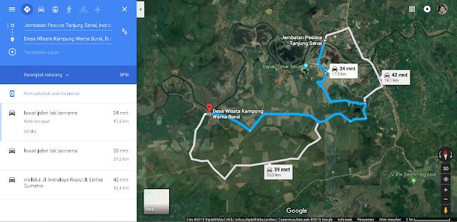 peta jembatan tanjung senai ke kampung warna burai