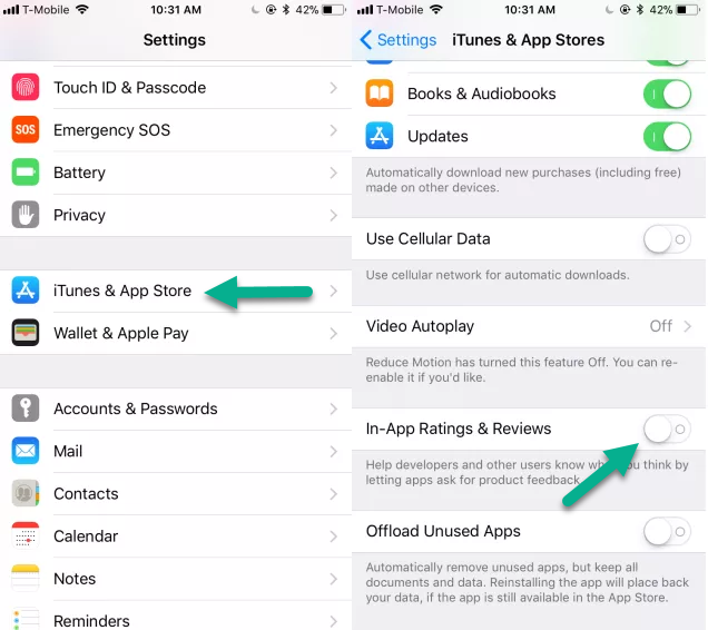 How to disable app review request and in-app ratings