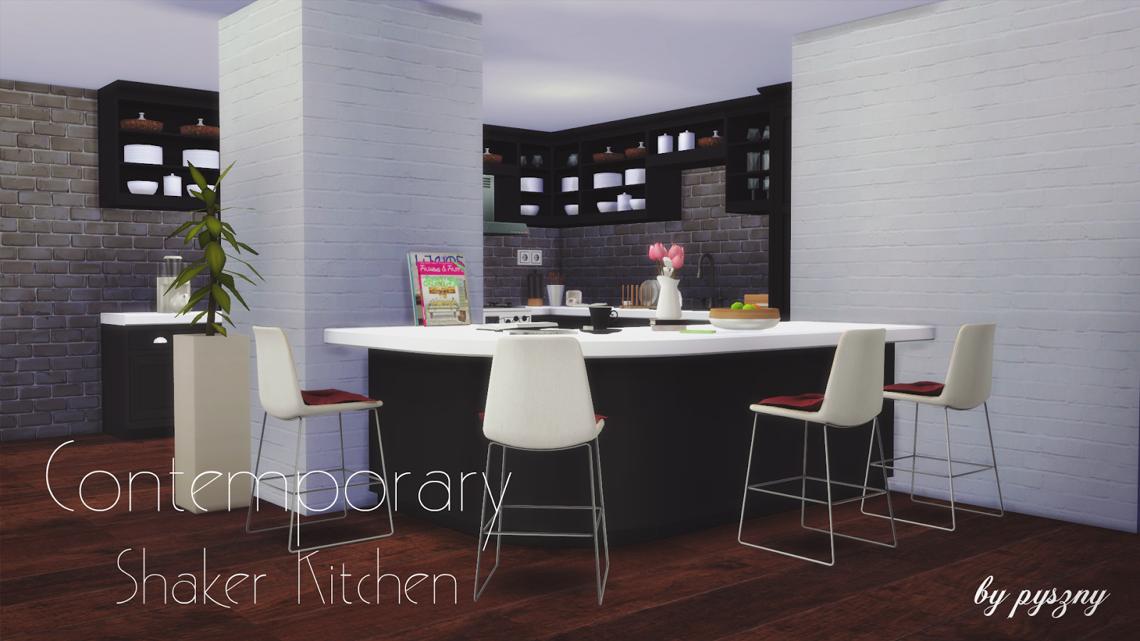 My sims 4 blog contemporary shaker kitchen set by pyszny for Kitchen ideas sims 4