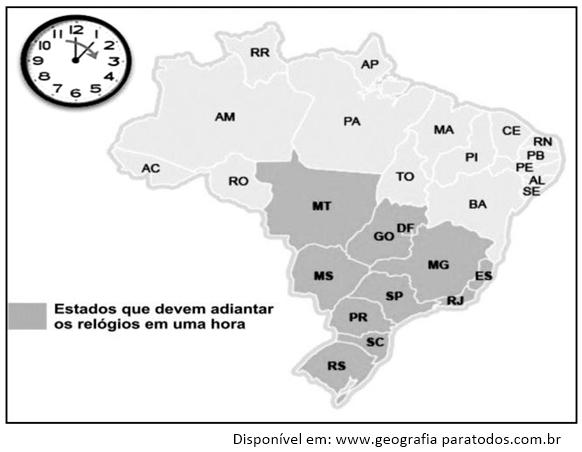 Estados que devem adiantar o relógio em uma hora