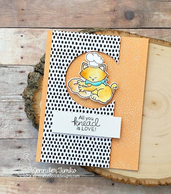 Cat kneading love card by Jennifer Timko | Newton's Kitchen Stamp Set by Newton's Nook Designs #newtonsnook #handmade #kitchenstamps