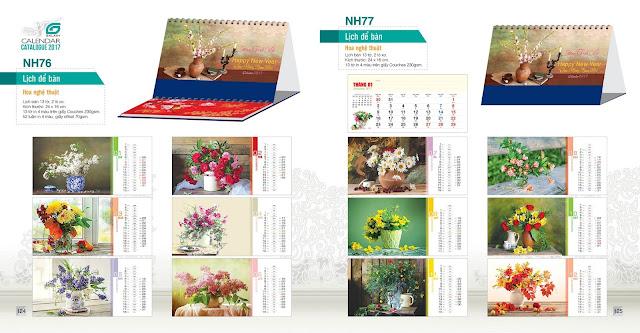 Mẫu lịch bàn NH76, NH76, Lịch Hoa nghệ thuật