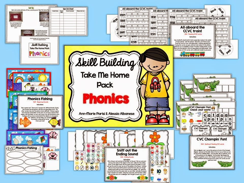 http://www.teacherspayteachers.com/Product/Skill-Building-Take-Me-Home-Pack-Phonics-1333494