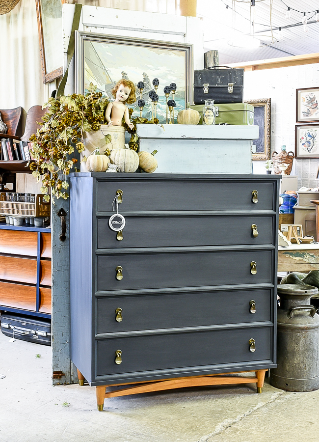 Painted MCM highboy dresser