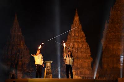 Kirab Obor Asian Games 2018 di Candi Prambanan, Yogyakarta