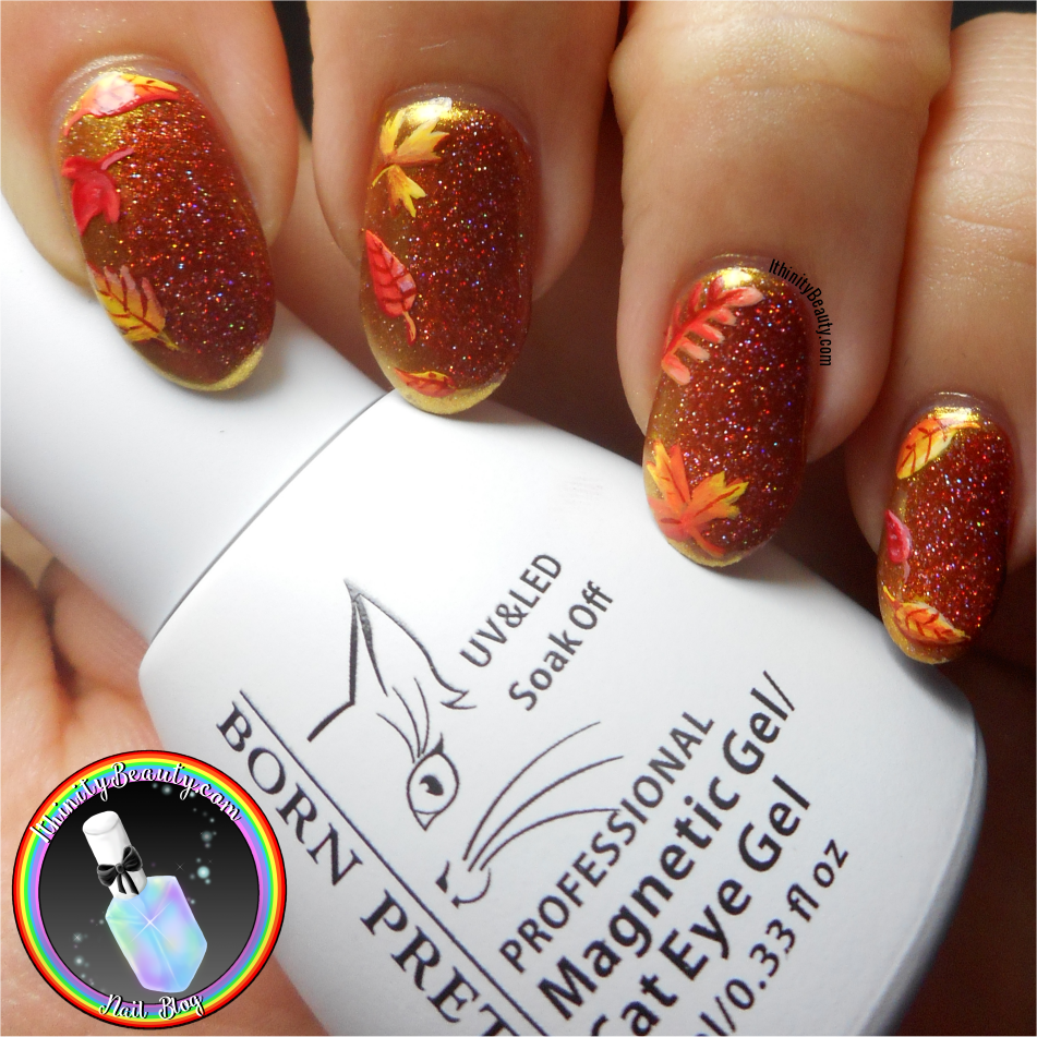 Autumn Leaves With Gold Mirror Chrome & Magnetic Nail Polish ...