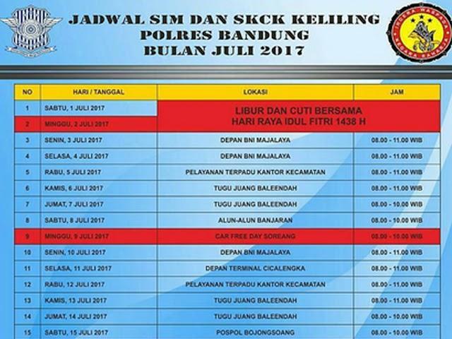Jadwal Layanan SIM dan SKCK Keliling Polres Bandung Bulan Juli 2017