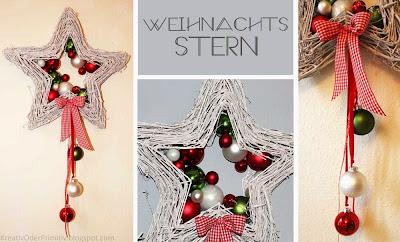 Rebenstern weihnachten christbaumkugeln basteln buttinette fenster tür deko diy kinder rot grün schleife schnell idee
